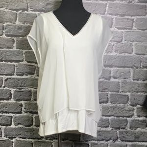 WHITE HOUSE BLACK MARKET Layered Top Sz L